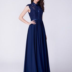 Long Evening Dress with Lace High Collar Neckline